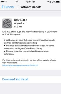 iOS 10.0.2 Release Note on iPhone 7