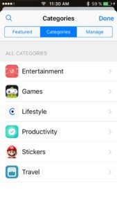 app store imessage categories view
