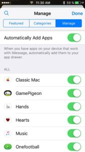 automatically add imessage apps setting