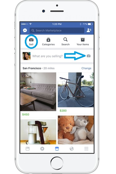 facebook market home page