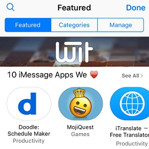 iMessage App Store Home Screen