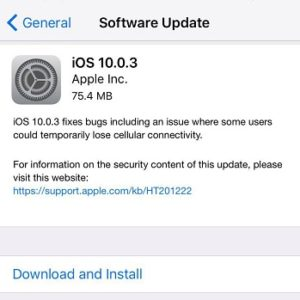 iOS 10.0.3 Software Update