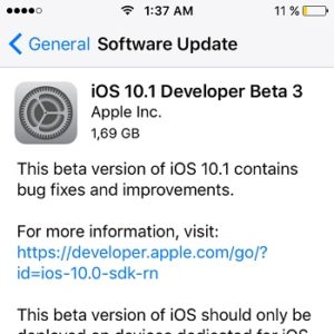 iOS 10.1 Beta 3 Software Update