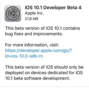 iOS 10.1 Beta 4 Software Update
