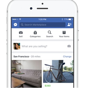 Facebook Marketplace home screen as seen on iPhone