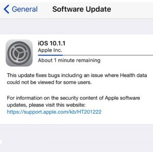 iPhone downloading iOS 10.1.1 update