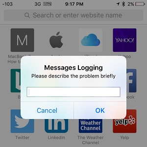 iphone messages logging annoying prompt