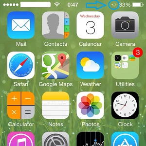 iPhone spinning wheel next to battery indicator