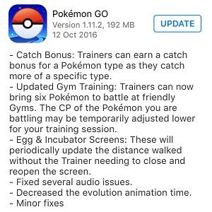 pokemon go 1.11.2 app store update