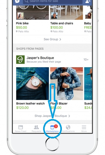 tap icon to open facebook marketplace