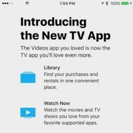iOS 10.2 New TV App replaces Videos.