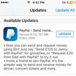PayPal Siri integration App Store update