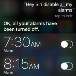 Siri disabling all iPhone alarms.