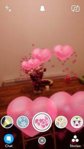 snapchat raining hearts world lens