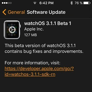 watchOS 3.1.1 Beta 1 Software Update.
