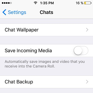 WhatsApp prevented from automatically saving media to iPhone Camera Roll