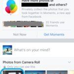 Facebook app home screen.