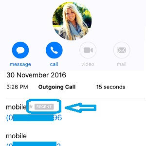 iOS 10 Recent call history label.