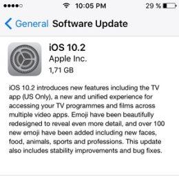 iOS 10.2 Software Update