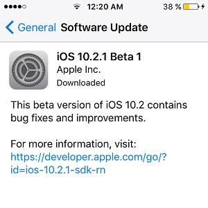 iOS 10.2.1 Beta 1
