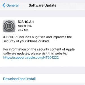 ios 10.3.1 update log