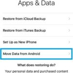 iphone setup move data from android option