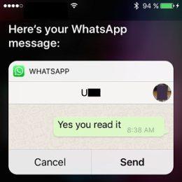 siri sends whatsapp message via voice command