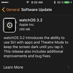 watchos 3.2 software update screen