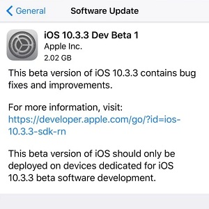 ios 10.3.3 dev beta 1 software update