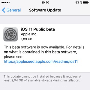 ios 11 Public beta software update