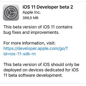 ios 11 developer beta 2 software update screen