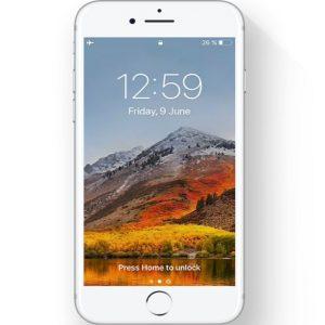 iPhone displaying macOS High Sierra wallpaper
