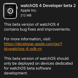 watchos 4 developer beta 2 software update