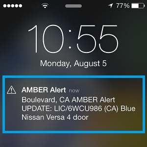 amber alert notification on iphone
