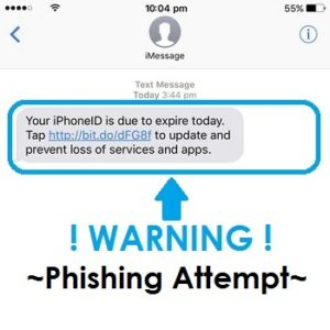 apple id phishing attempt via text message