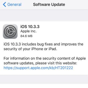 ios 10.3.3 software update screen