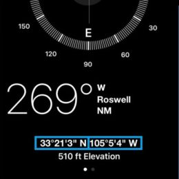 iphone displaying gps coordinates