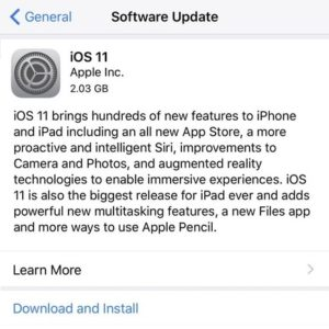 ios 11 software update screen