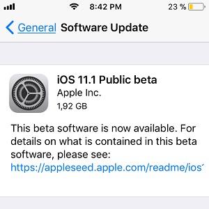ios 11.1 public beta software update screen