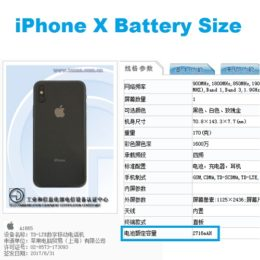 iphone x battery size on tenaa website
