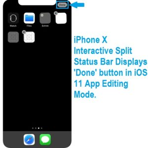 iphone x split status bar displays done button