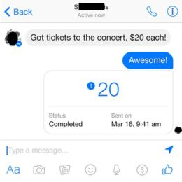 facebook messenger p2p paypal payment completed