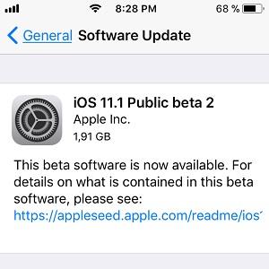 ios 11.1 Public beta 2 software update screen