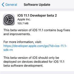 ios 11.1 developer beta 2 software update