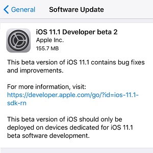 ios 11.1 developer beta 2 software update