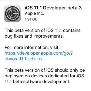 ios 11.1 developer beta 3