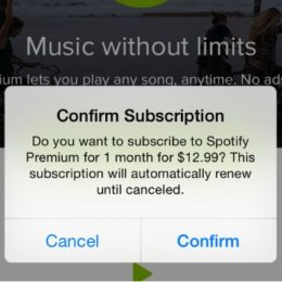 spotify confirm subscription prompt