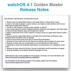 watchos 4.1 golden master release notes