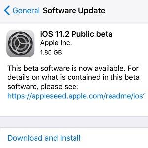 ios 11.2 public beta 1