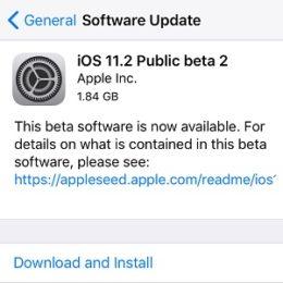ios 11.2 public beta 2 software update
